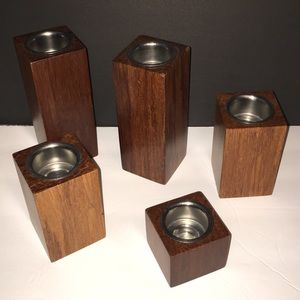 5 Pier One Mid Century Modern Wood Candle Holders